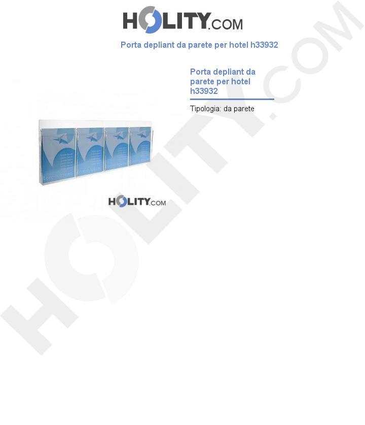 Porta depliant da parete per hotel h33932