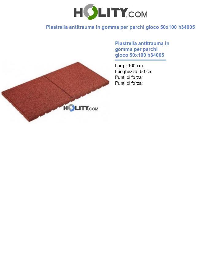 Piastrella antitrauma in gomma per parchi gioco 50x100 h34005