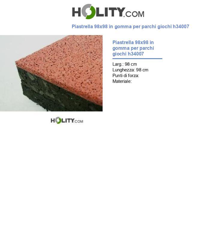 Piastrella 98x98 in gomma per parchi giochi h34007