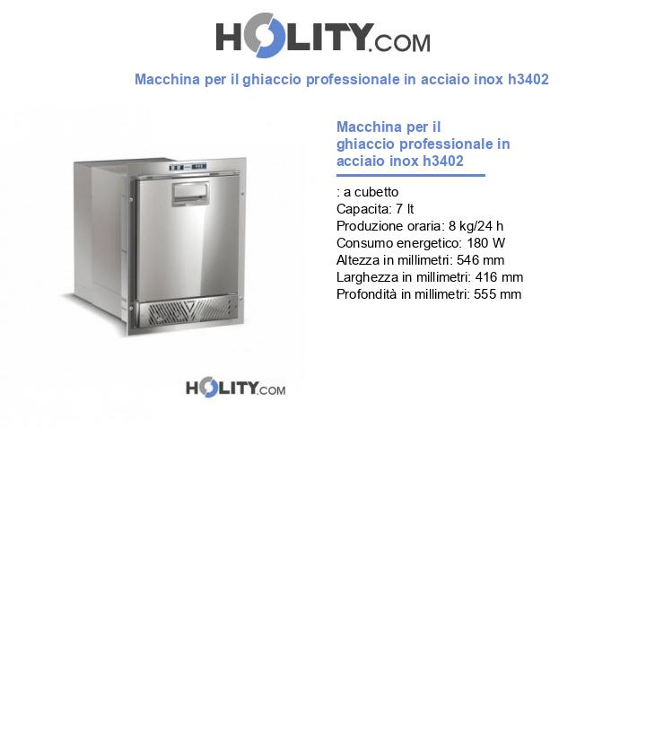 Macchina per il ghiaccio professionale in acciaio inox h3402