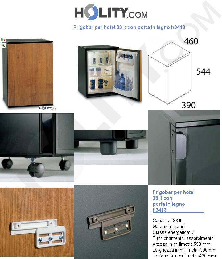 Frigobar per hotel 33 lt con porta in legno h3413