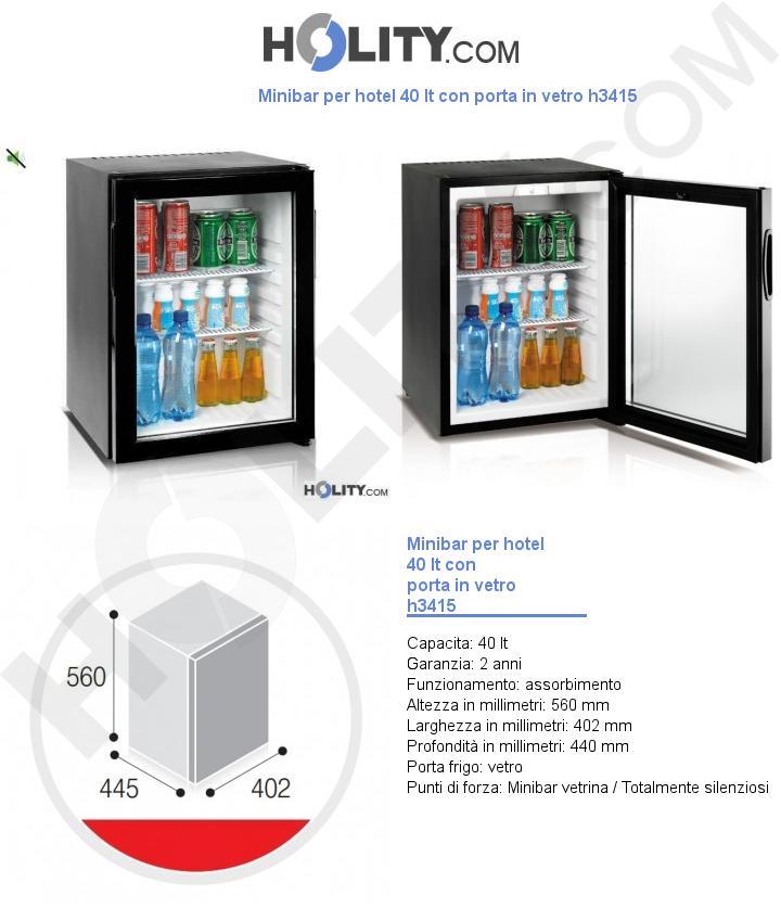 Minibar per hotel 40 lt con porta in vetro h3415