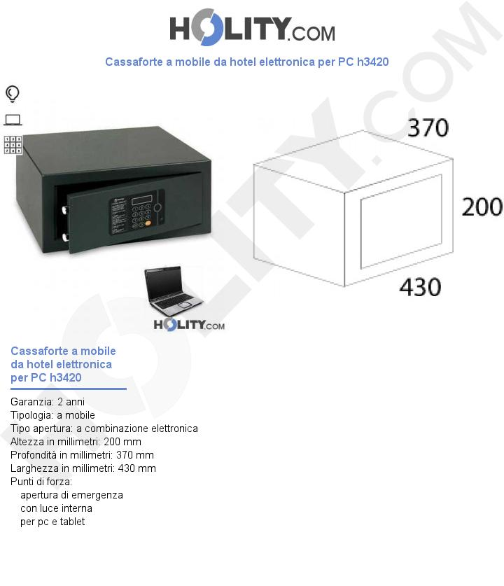 Cassaforte a mobile da hotel elettronica per PC h3420