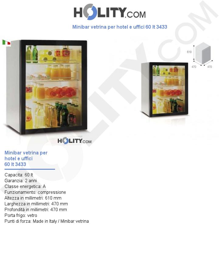 Minibar vetrina per hotel e uffici 60 lt 3433