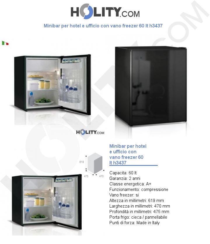 Minibar per hotel e ufficio con vano freezer 60 lt h3437