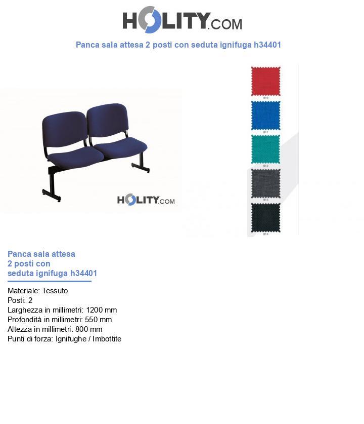 Panca sala d'attesa 2 posti con seduta ignifuga h34401