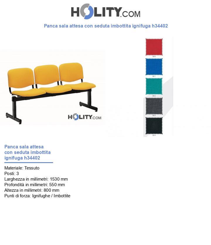 Panca sala d'attesa con seduta imbottita ignifuga h34402