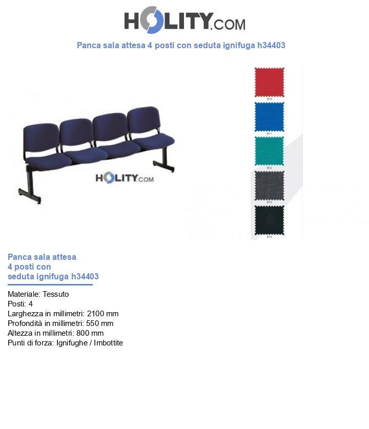 Panca sala attesa 4 posti con seduta ignifuga h34403