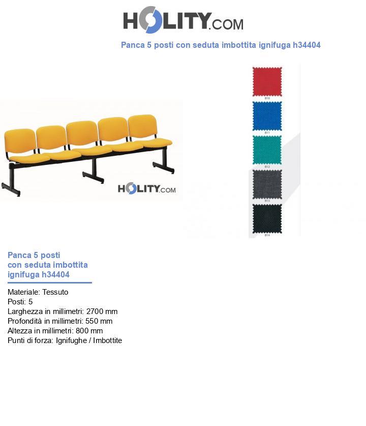 Panca 5 posti con seduta imbottita ignifuga h34404