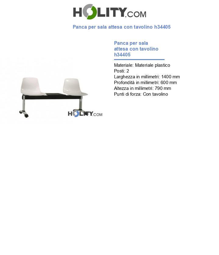 Panca per sala attesa con tavolino h34405