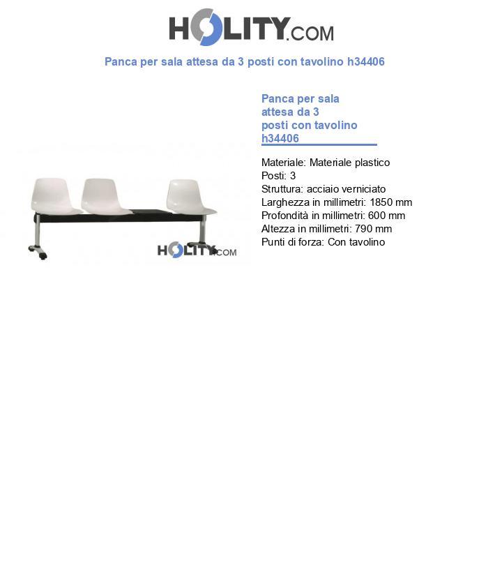 Panca per sala attesa da 3 posti con tavolino h34406