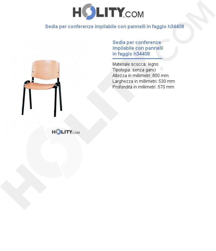 Sedia per conferenze impilabile con pannelli in faggio h34408
