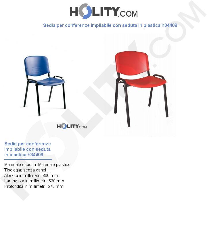 Sedia per conferenze impilabile con seduta in plastica h34409