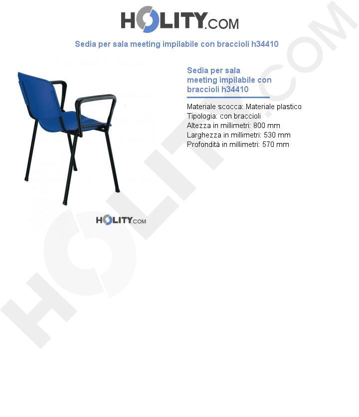 Sedia per sala meeting impilabile con braccioli h34410