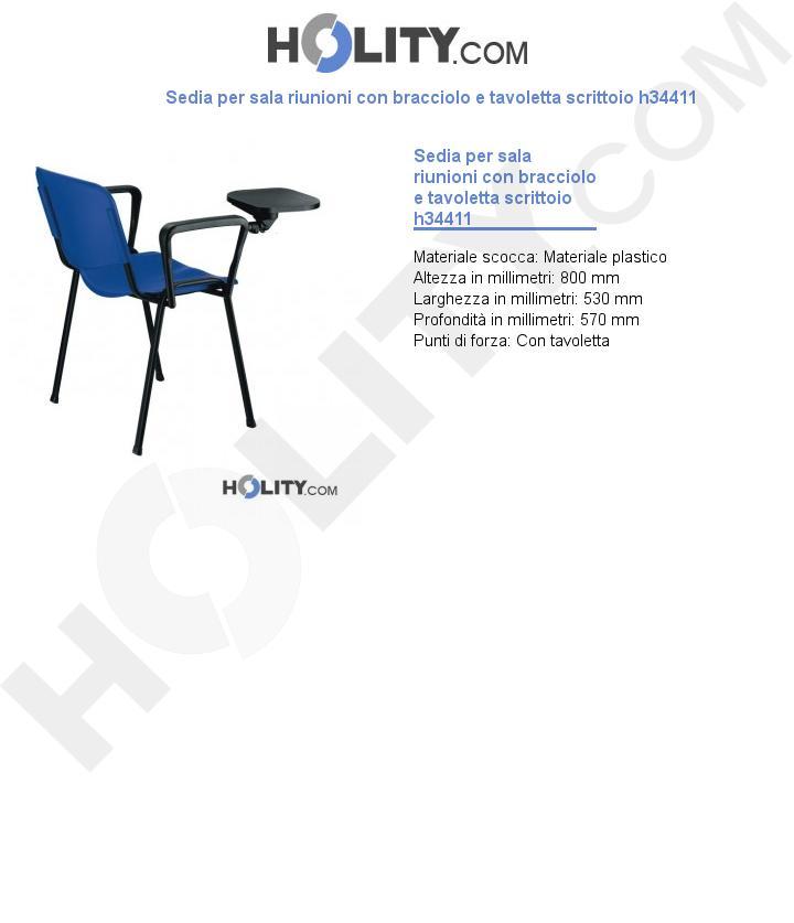 Sedia per sala riunioni con bracciolo e tavoletta scrittoio h34411