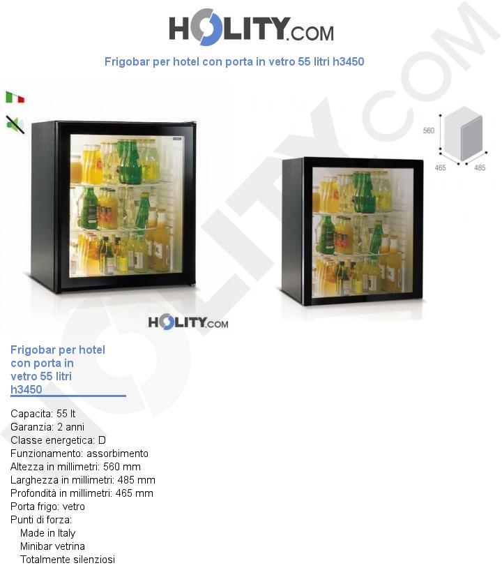 Frigobar per hotel con porta in vetro 55 litri h3450