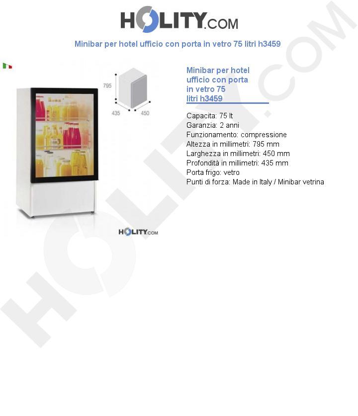 Minibar per hotel ufficio con porta in vetro 75 litri h3459