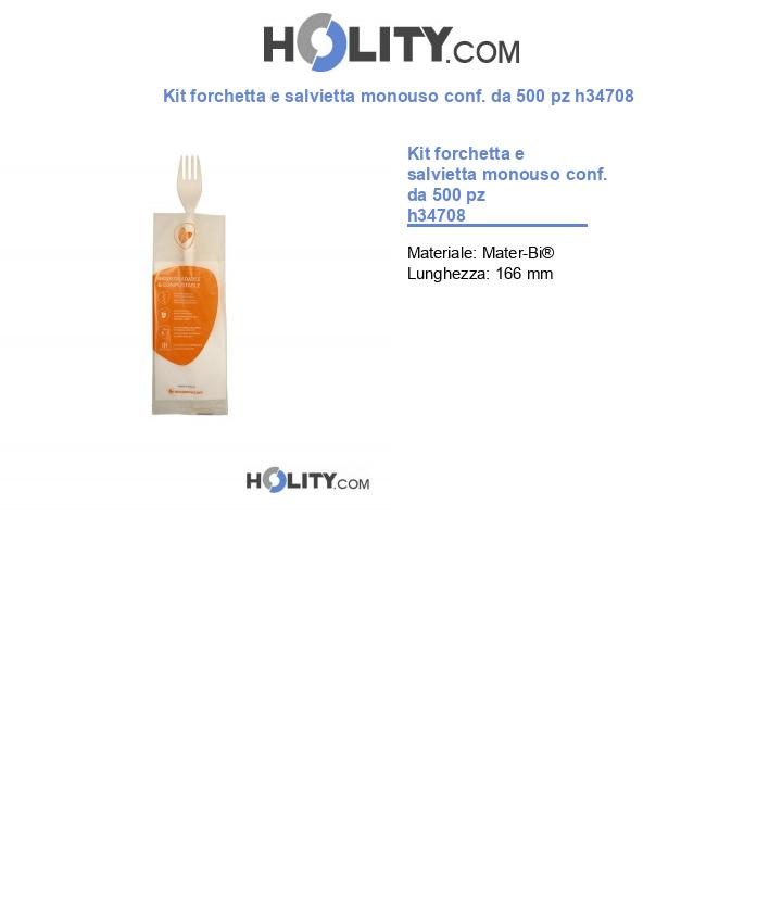 Kit forchetta e salvietta monouso conf. da 500 pz h34708