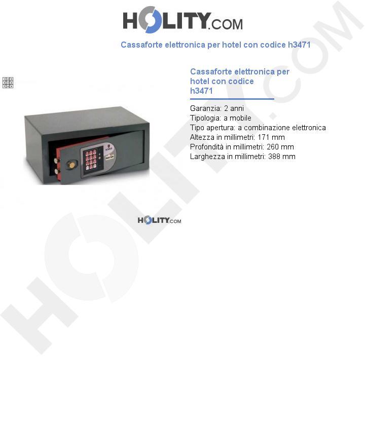 Cassaforte elettronica per hotel con codice h3471