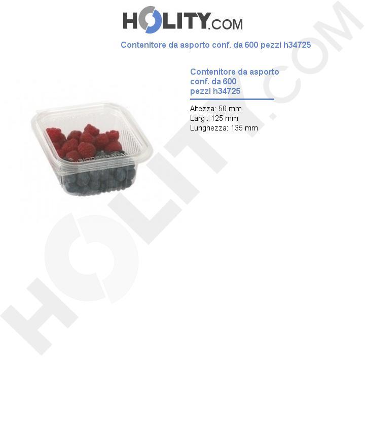Contenitore da asporto conf. da 600 pezzi h34725