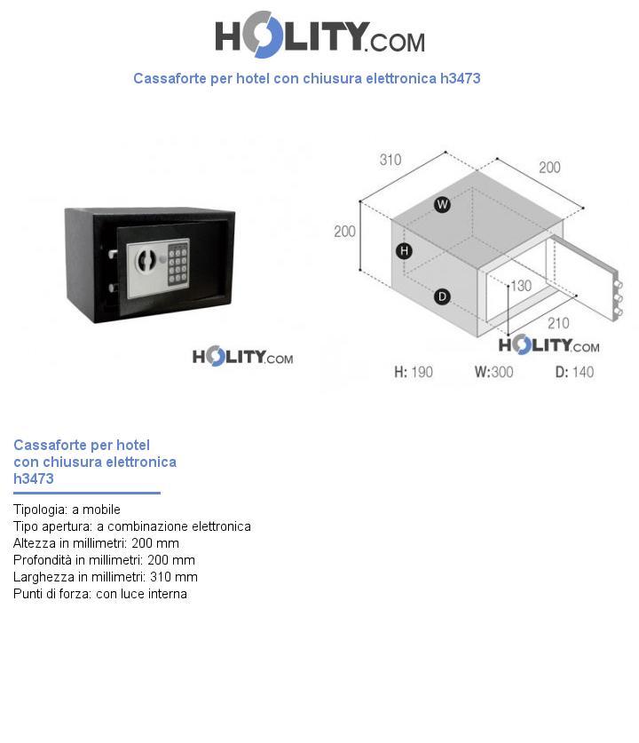 Cassaforte per hotel con chiusura elettronica h3473