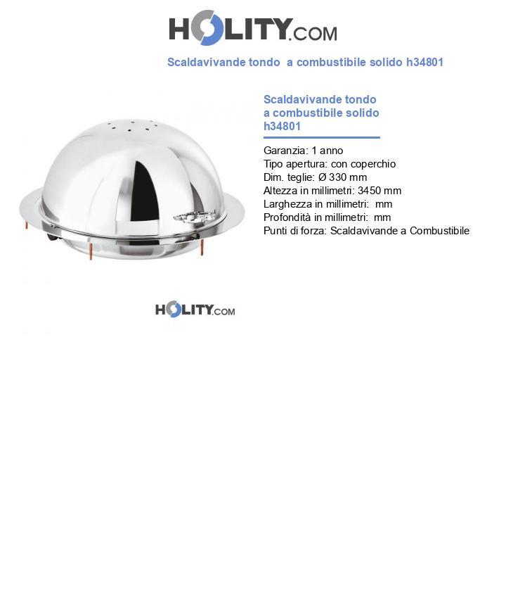 Scaldavivande tondo professionale a combustibile solido h34801