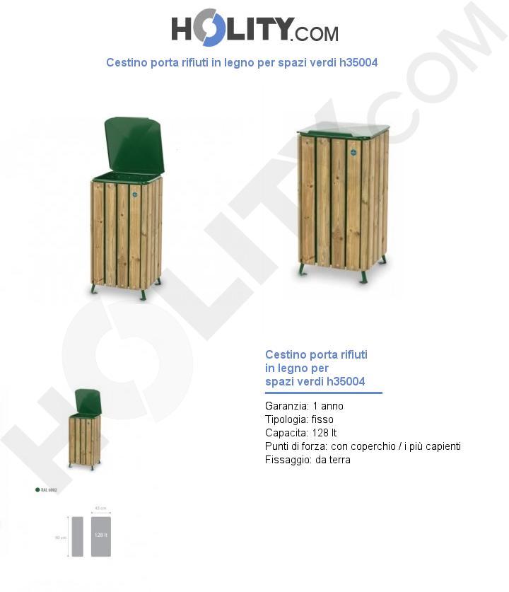 Cestino porta rifiuti in legno per spazi verdi h35004