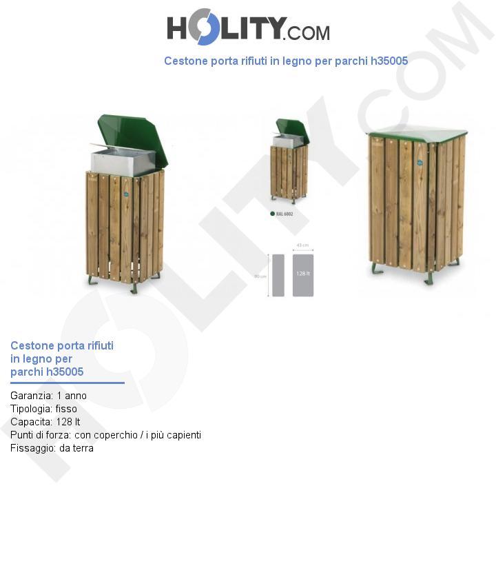 Cestone porta rifiuti in legno per parchi h35005