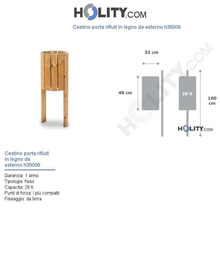 Cestino porta rifiuti in legno da esterno h35006