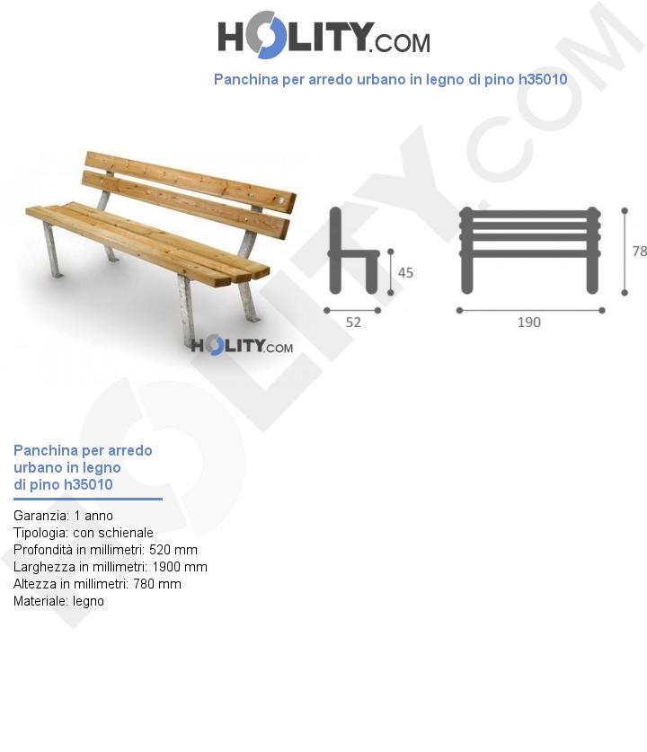 Panchina per arredo urbano in legno di pino h35010