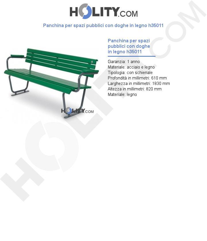 Panchina per spazi pubblici con doghe in legno h35011
