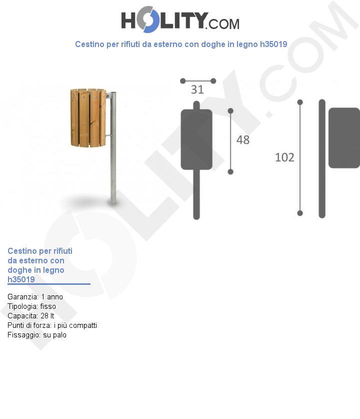 Cestino per rifiuti da esterno con doghe in legno h35019