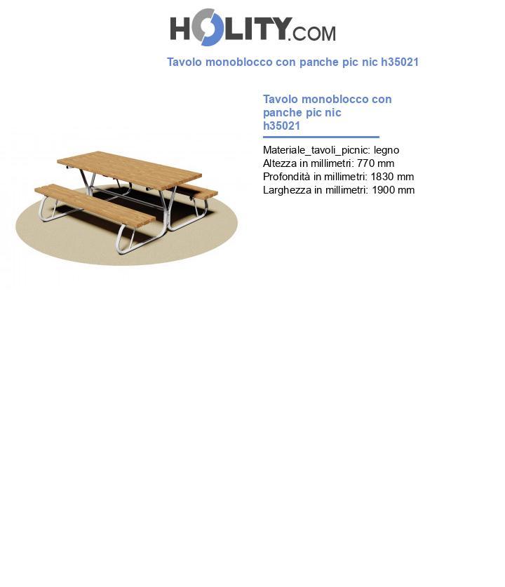 Tavolo monoblocco con panche pic nic h35021