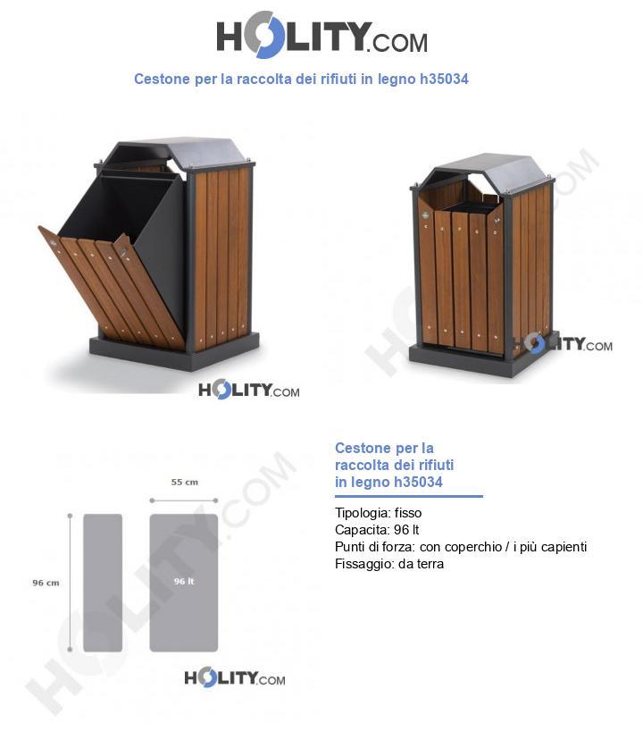 Cestone per la raccolta dei rifiuti in legno h35034