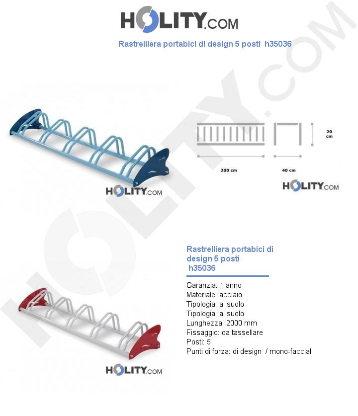 Rastrelliera portabici di design 5 posti  h35036