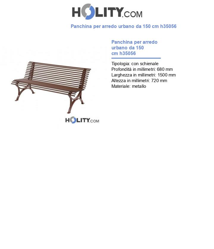 Panchina per arredo urbano da 150 cm h35056