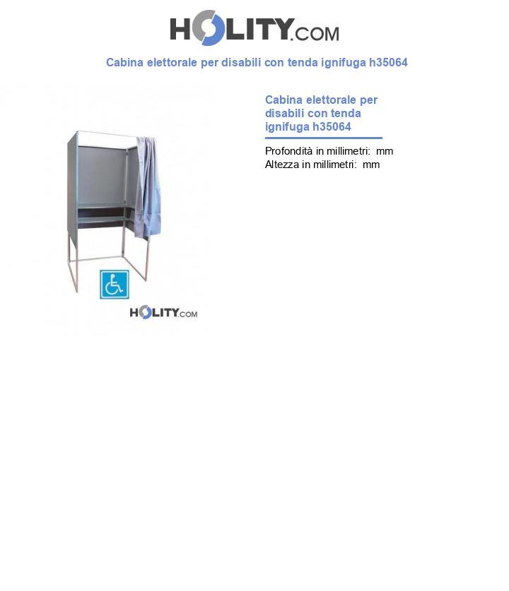 Cabina elettorale per disabili con tenda ignifuga h35064