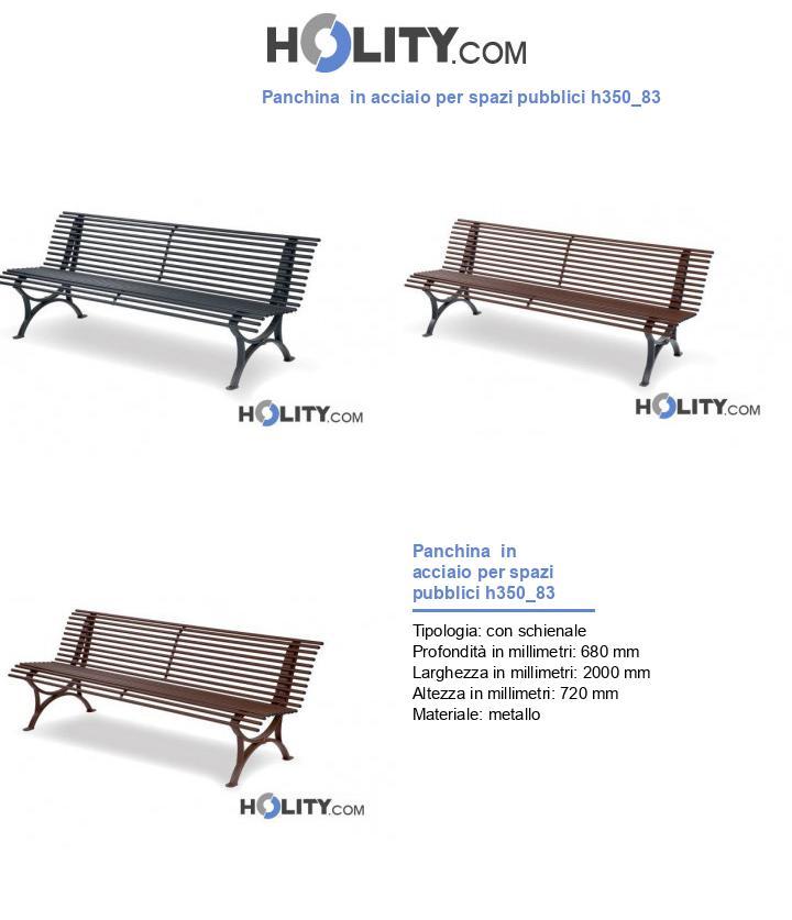 Panchina  in acciaio per spazi pubblici h350_83