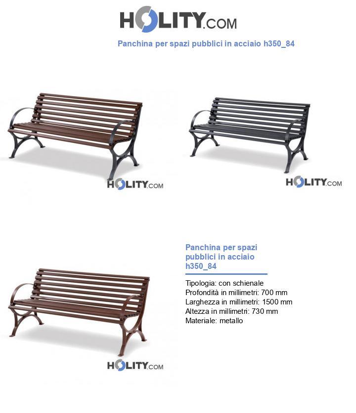 Panchina per spazi pubblici in acciaio h350_84