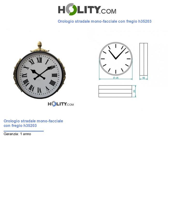 Orologio stradale mono-facciale con fregio h35203
