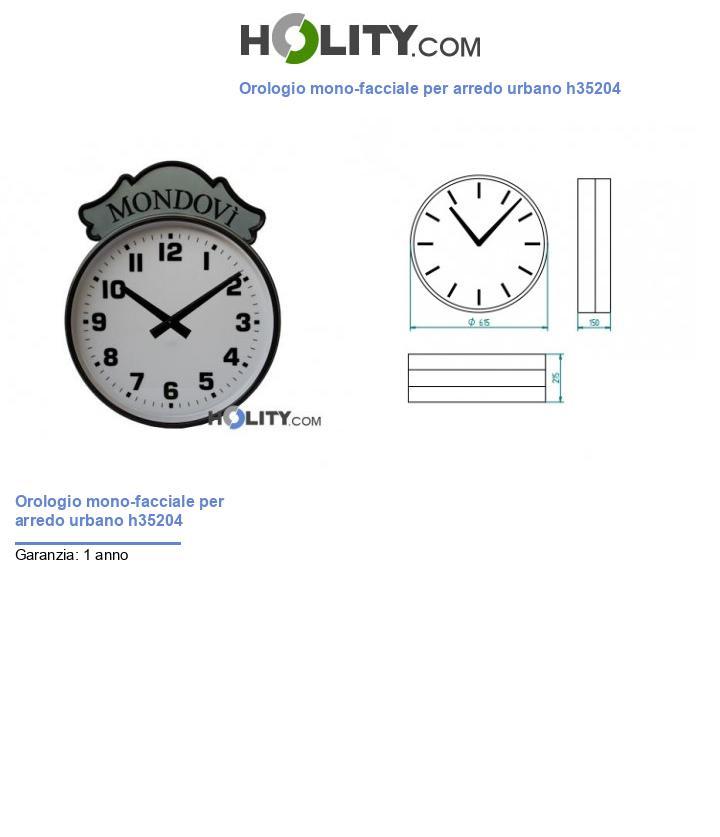 Orologio mono-facciale per arredo urbano h35204