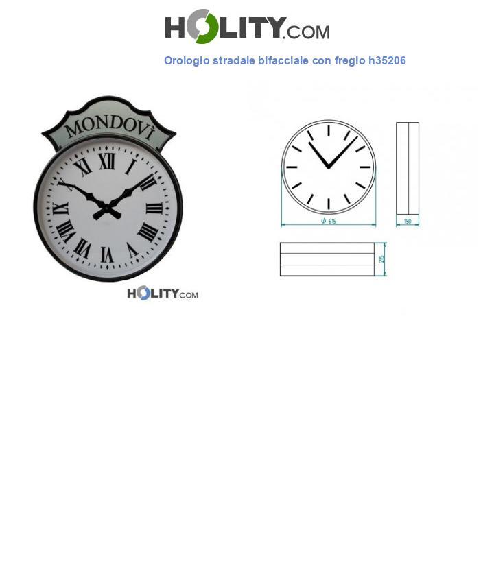 Orologio stradale bifacciale con fregio h35206