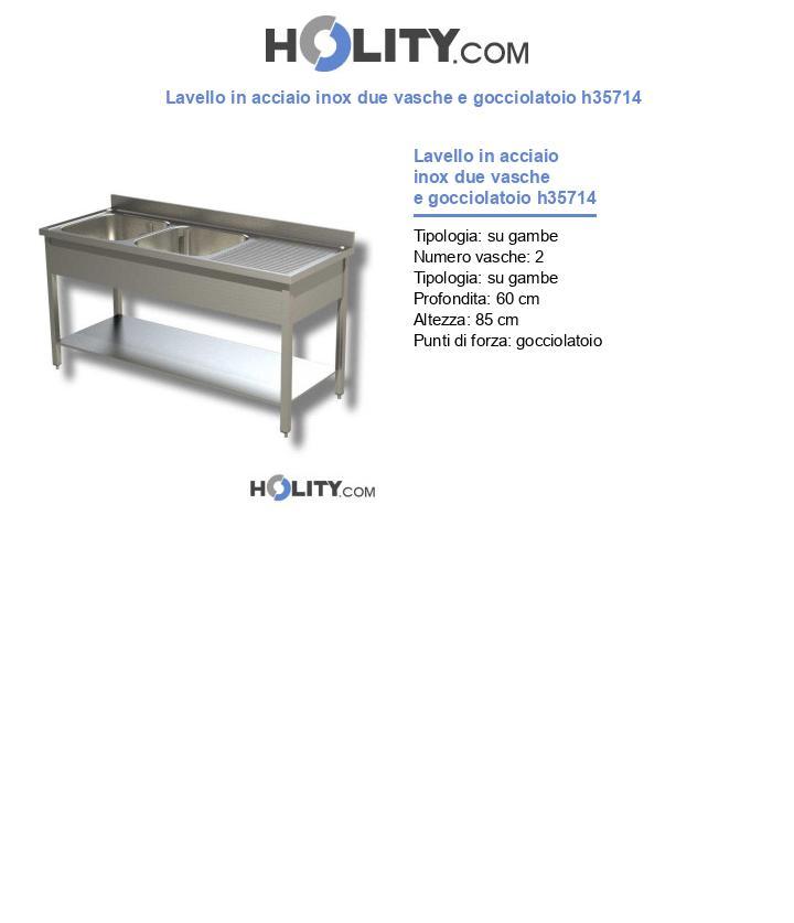 Lavello in acciaio inox due vasche e gocciolatoio h35714