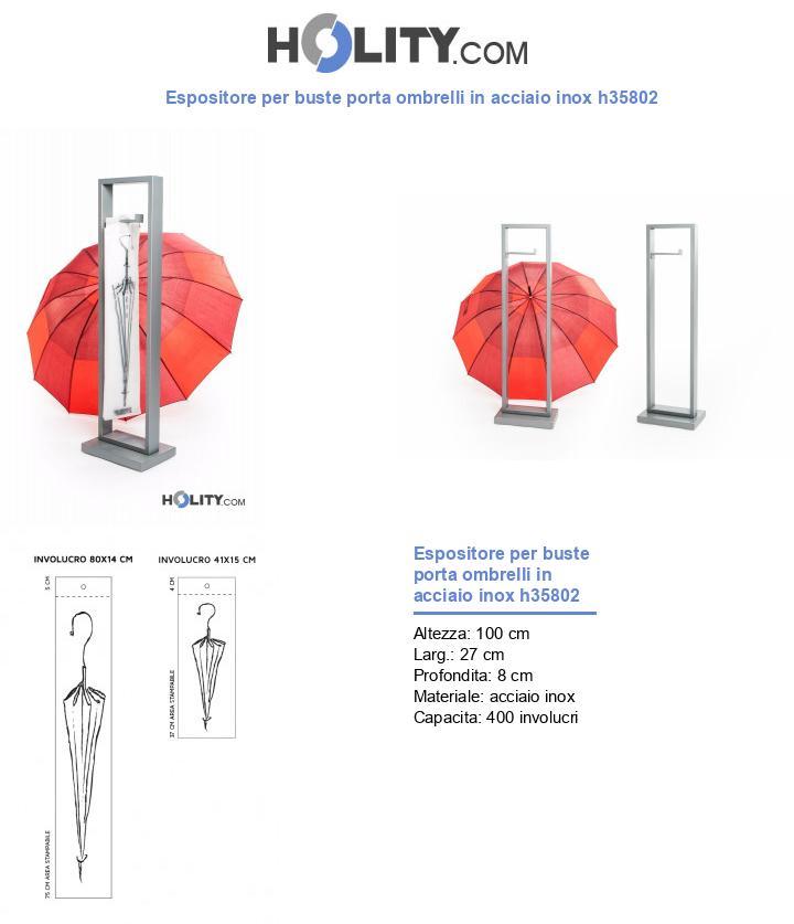 Espositore per buste porta ombrelli in acciaio inox h35802