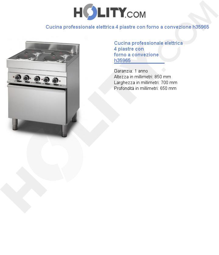 Cucina professionale elettrica 4 piastre con forno a convezione h35965