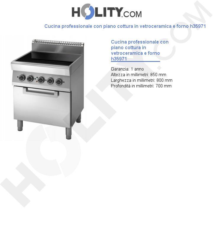 Cucina professionale con piano cottura in vetroceramica e forno h35971