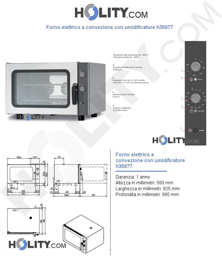 Forno elettrico a convezione con umidificatore h35977