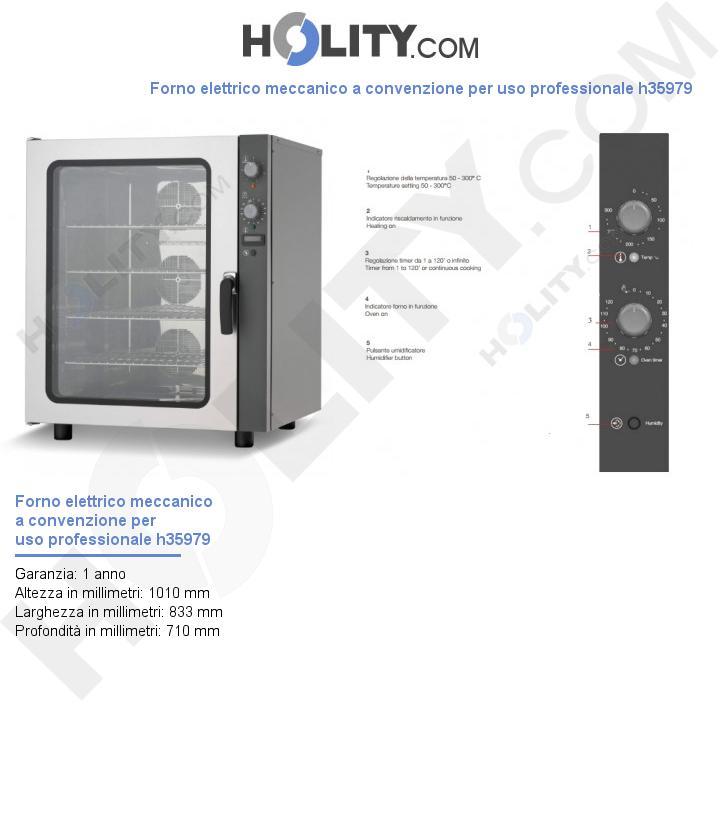 Forno elettrico meccanico a convenzione per uso professionale h35979