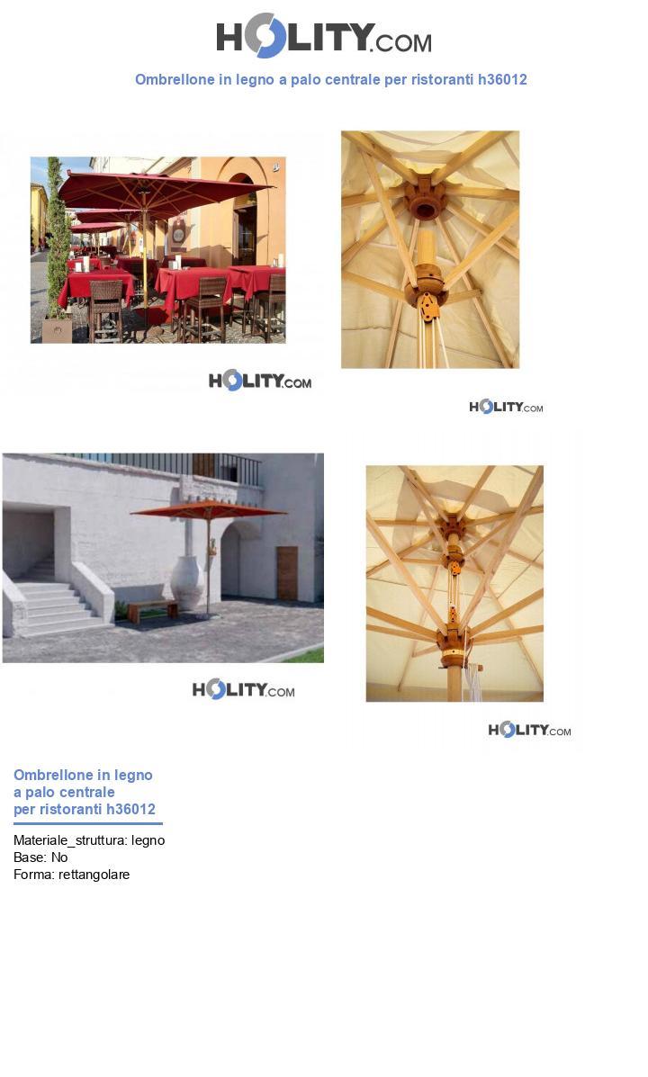 Ombrellone in legno a palo centrale per ristoranti h36012