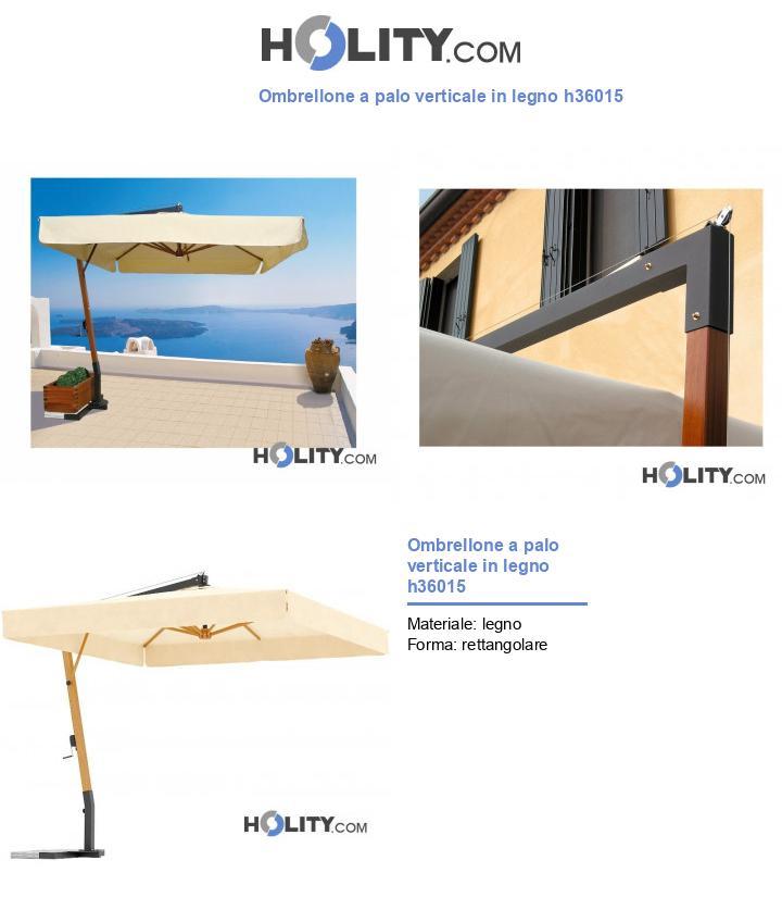 Ombrellone a palo verticale in legno h36015